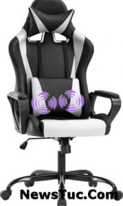 MassagePU Leather Ergonomic Chair with Lumbar Support Arms Headrest High BackRacingGaming Chair