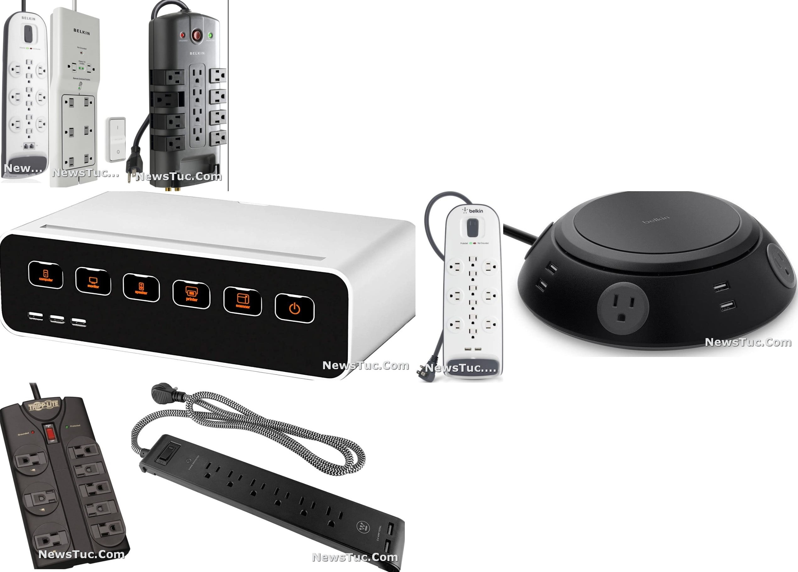 Top Heavy Duty Multiple-Outlets Stripe Surge Protector Extension