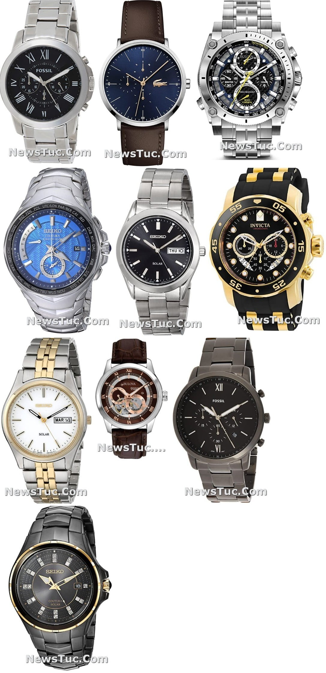 Top Leather Strap Stainless Steel Seiko Men's Watch